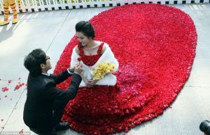 صيني يقدم لخطيبته فستان صنع من 10 آلاف وردة