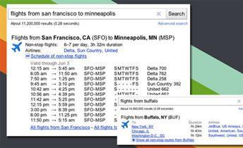 جوجل تضيف مواعيد الطيران إلى خدمتها البحثية