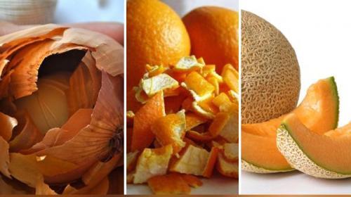 نظام غذائي صحي من قشور وأوراق النباتات التي تلقي في سلة المهملات
