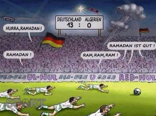 رسام كاريكاتير يسخر من صيام لاعبي الجزائر في المونديال ويردون عليه بأدائهم البطولي