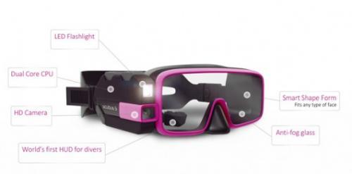 تصميم نظارة غوص ذكية مزودة بكاميرا وكشاف وشاشة لعرض العمق ودرجة الحرارة