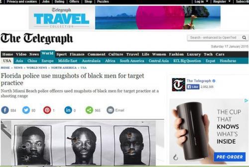 أنتقاد الشرطة الأمريكية لأستخدامها صور السود لتعلم إطلاق النار عليها